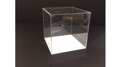 ADC20W - Clear Acrylic Display Cube with White Base - 20cm