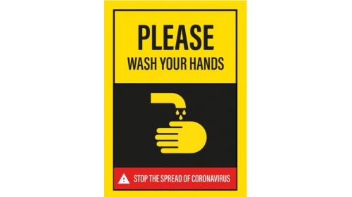 BE008E HW4SA Please Wash Your Hands Sticker