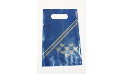 1135 - Carrier Bags, blue & gold 220 x 370 (100)