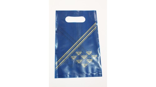 1134 - Carrier Bags, blue & gold - 150 x 230mm (100)