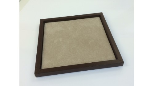 TRA007 - Luxury Faux Leather Brown Frame & Light Brown Flocked Tray