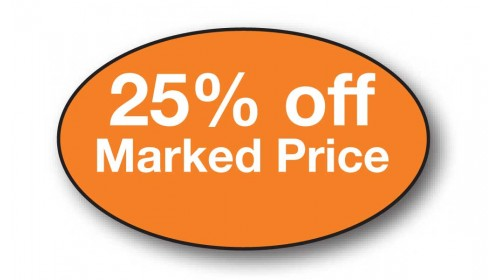 CL1 - 25% off Marked Price, white on orange.