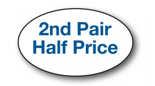 CL103 - 2nd Pair Half Price, blue on white.