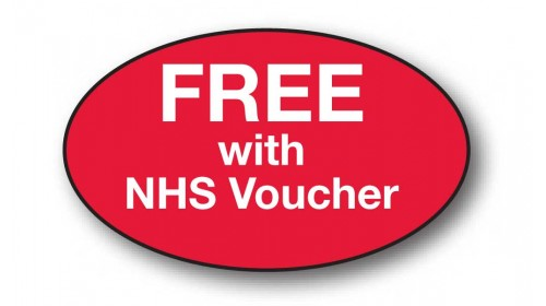 CL12 - FREE with NHS Voucher, white on red.