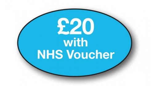 CL14 - £20 with NHS Voucher, white on light blue.