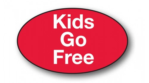 CL25 - Kids Go Free, white on red.