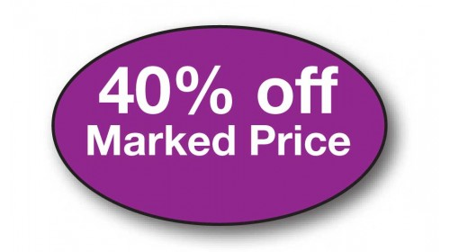 CL38 - 40% off Marked Price, white on purple.
